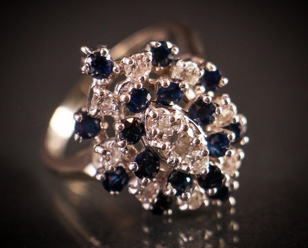 Diamond/Sapphire/14k White Gold Cocktail Ring