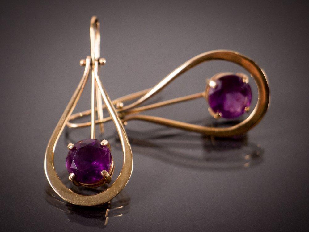 Custom Gold and Amethyst Earrings