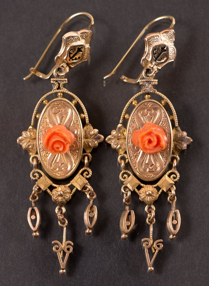 Victorian 14k Gold and Coral Earrings