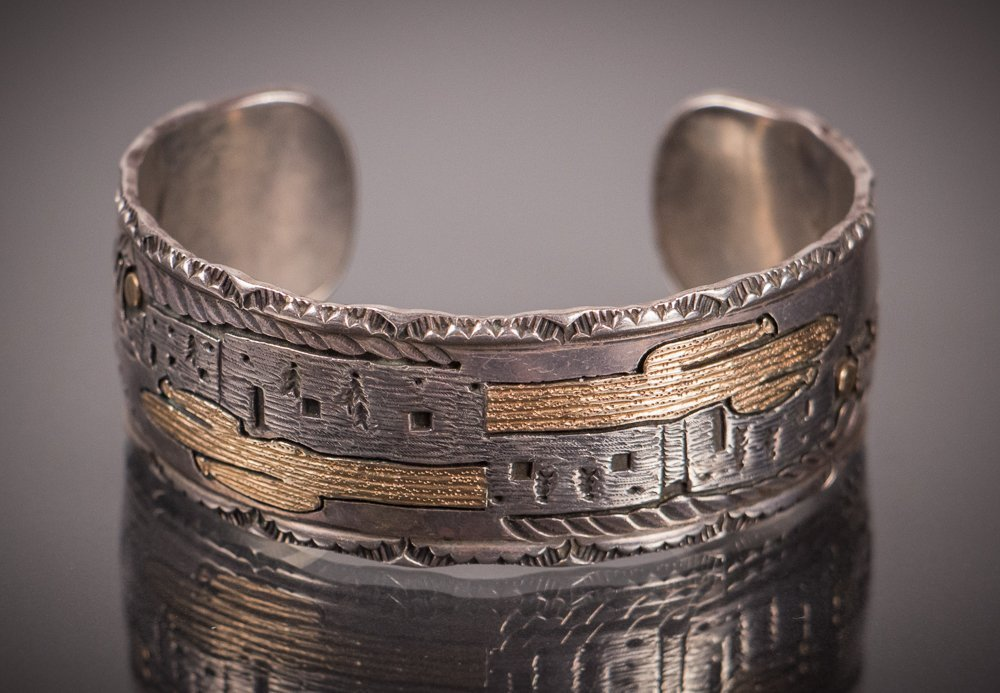 Indian Silver and Gold Cuff Bracelet