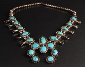 Silver And Turquoise Squash Blossom Necklace