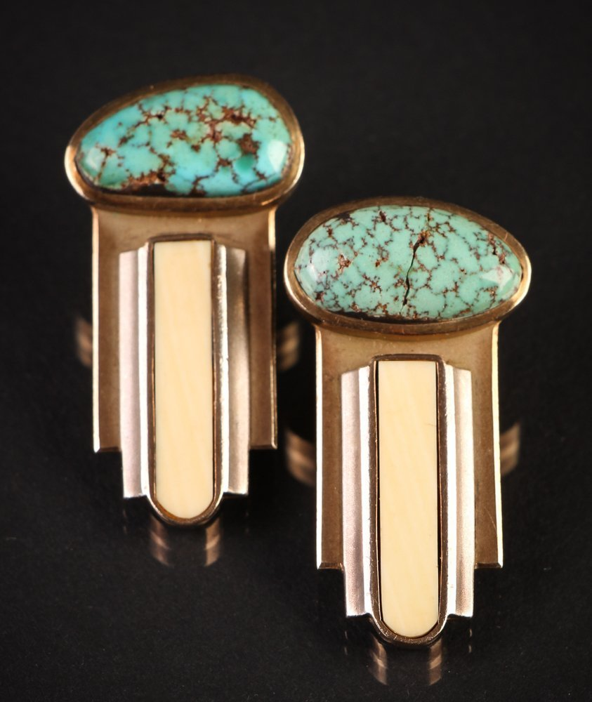 Pair of 14k Gold and Turquoise Earrings