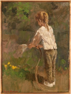 Gunnar Anderson Painting Of Child Watering Flowers