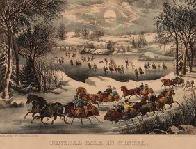 Currier And Ives, Central Park In Winter, Hand-colored