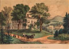 Currier and Ives New England Home  Harvest