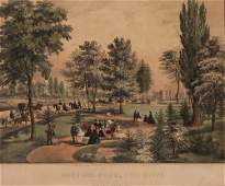 """Currier & Ives """"CENTRAL PARK, THE DRIVE"""" Hand-colored"""