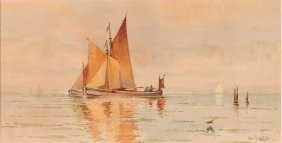 William Frederick Paskell Watercolor Of Sailboats