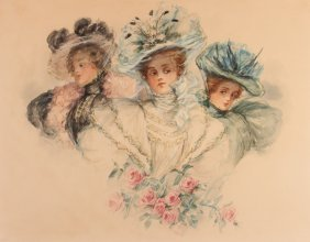 "Marianne Stokes Watercolor Of ""three Beautiful Women"""