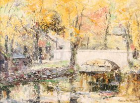 George A. Traver Painting Impressionistic Landscape