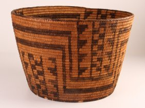 Large Native American Basket With Stylized Decoration