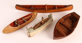 Four Antique Boat Models In Various Designs