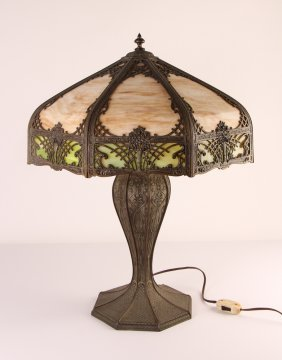 Large Slag Glass Lamp