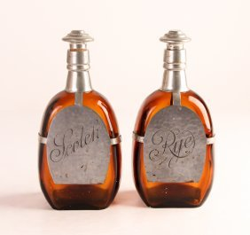 Pair Pewter Mounted Amber Glass Decanters, Quart Size