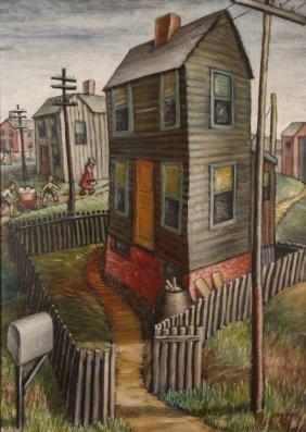 "Dorothy Davids 1940's Oil/masonite ""urban Life"""
