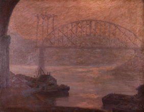 "Ralph Kerzeske Oil On Canvas ""the Riverbank Pittsburgh"""