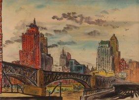 "Saul Pascoll 1963 Watercolor ""liberty Bridge"""