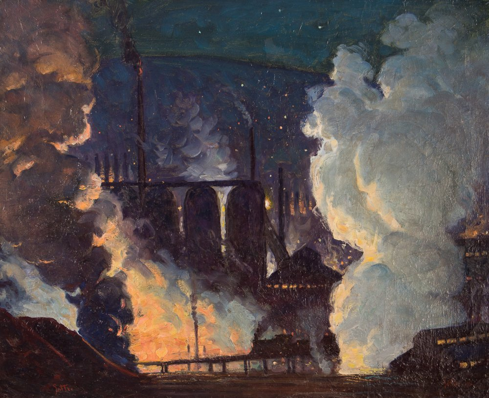 """George Sotter 1942 painting """"Industrial Nocturne"""""""
