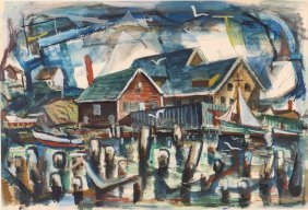 "Milton Weiss 1955 Watercolor ""gloucester"""