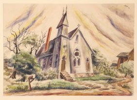 """Milton Weiss 1940 W/c """"country Church Somerset"""""""