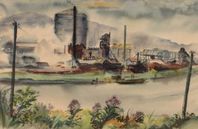 "Jane M Witherspoon W/c ""industry Along The River"""