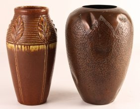 Tall Rookwood Ceramic Vase With Chased Copper Nouveau