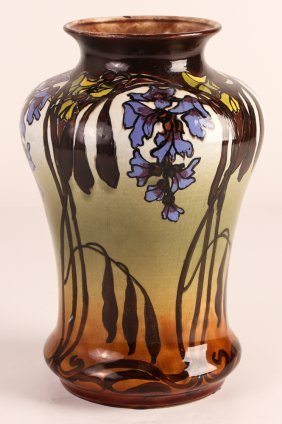 New Moravian Pottery Vase With Iris Decoration