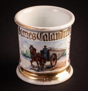 German Occupational Shaving Mug, Farm Cart And Driver