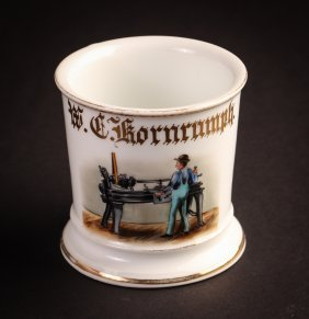 "Occupational Shaving Mug, ""machinist Operating Lathe"""
