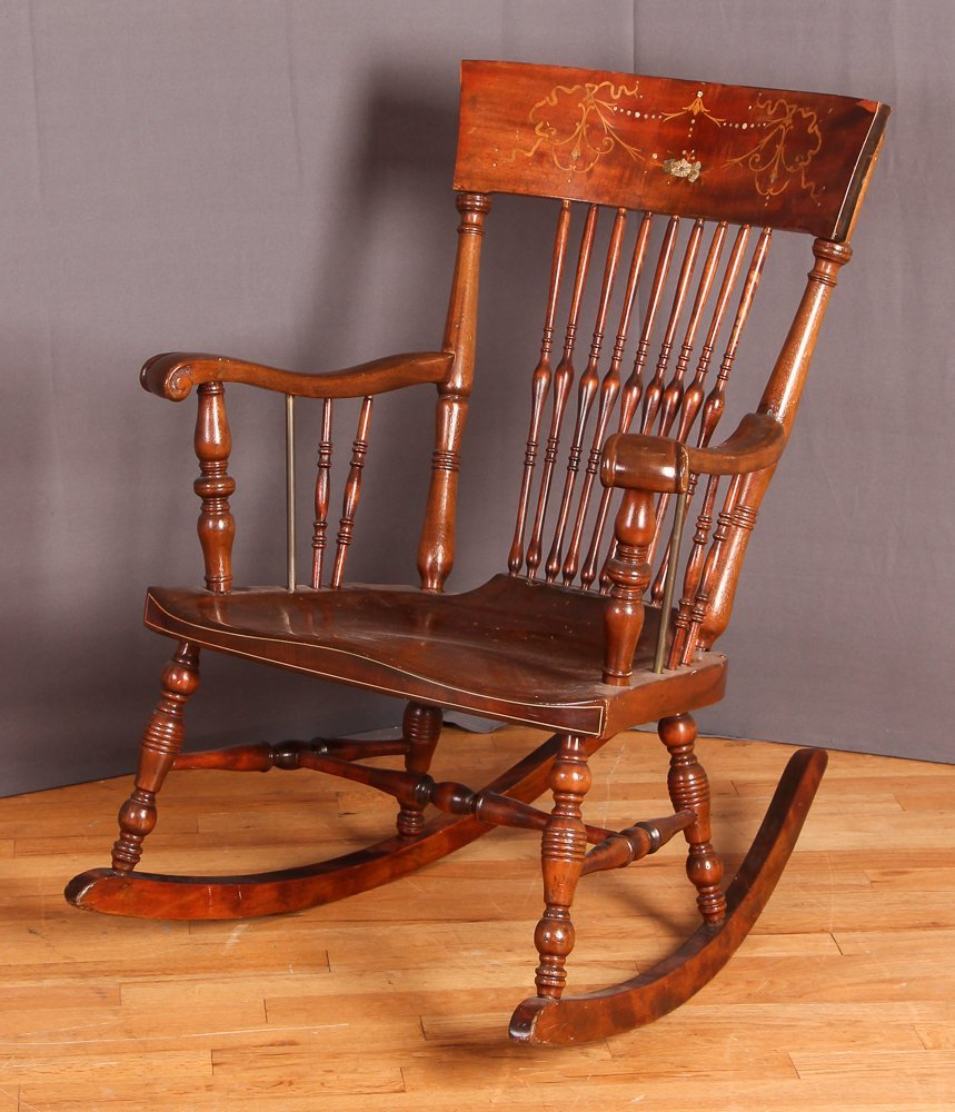 Hardwood Rocker Chair with Mother of Pearl