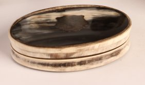 Horn Snuff / Powder Box With Silver Medal Inlay