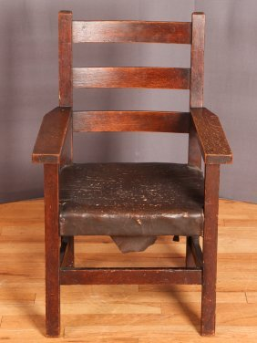 Antique Arts & Crafts Ladder Back Child's Armchair