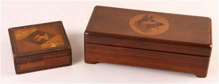 Pair of Dog Themed Marquetry Keepsake Boxes