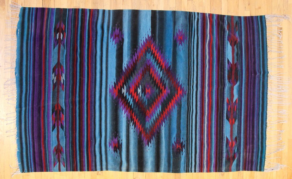 Natural Dyed Mexican Rug in Zapotec Pattern