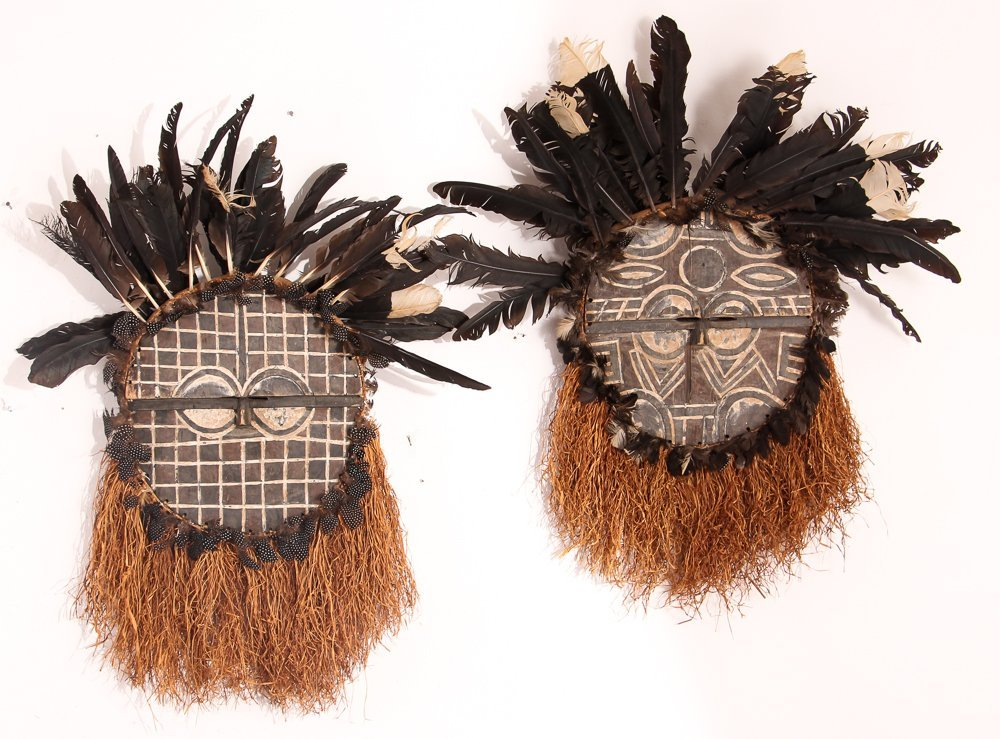 2 Bearded African Masks