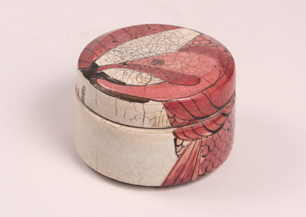 Fine Ceramic Powder Box with Fish Pattern