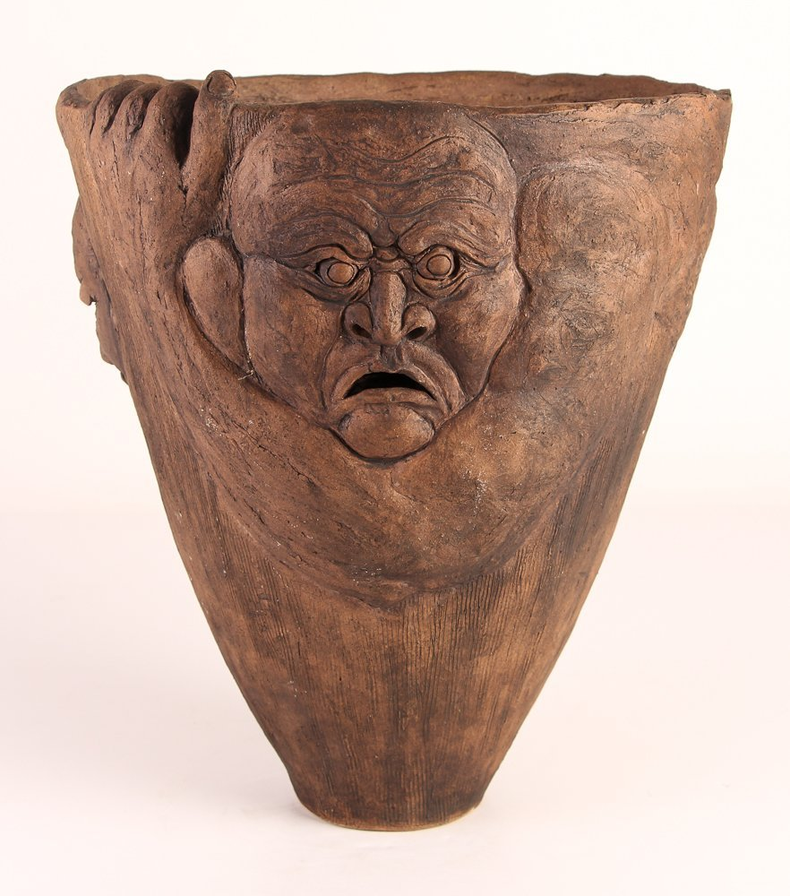 Contemporary Ceramic Pottery Face Planter