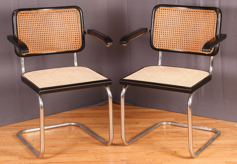 Pair of Italian Mid Century Cane Back & Seat Arm Chairs