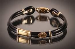 Sauro Brev Italian rubber and gold bracelet