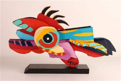 """KAREL APPEL sculpture multiple """"Flying Fish"""""""