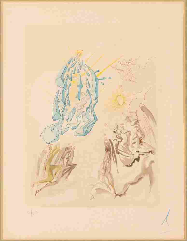 Salvador Dali signed color woodcut Meeting of the