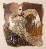 Susan Kemenyffy raku ceramic wall relief