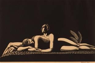Rockwell Kent Wood Engraving Lovers 1928