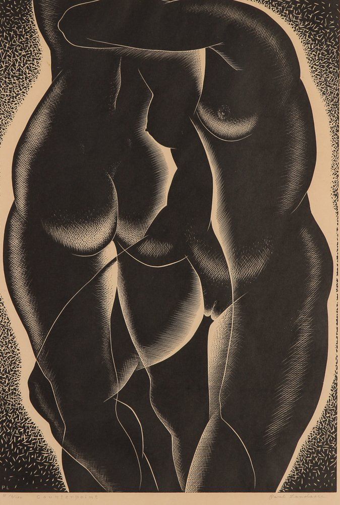 Paul Landacre Counterpoint Wood Engraving 1939