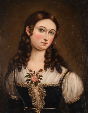Early 19th C. Half Length Portrait Of A Young Woman