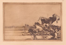 """Francisco Goya Etching #21 From The """"tauromaquia"""