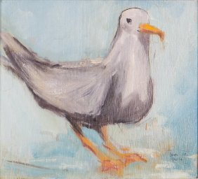 John Magill Painting Of Seagull With Nautical Frame