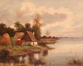 """H. Pillinger German 2oth C. """"farm Landscape Along The"""