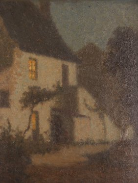 "Tom Robertson Oil Ptg. ""the Moonlit Cottage"""