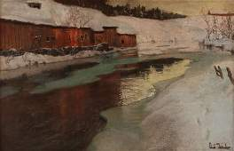 Frits Thaulow ptg Farm Along Frozen River, Norway