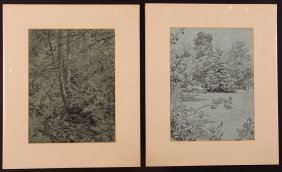 "2 Andrey Avinoff Charcoal Drawings ""landscapes"""